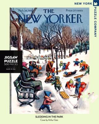 Sledding in the Park - 500 Piece Jigsaw Puzzle - Box Front
